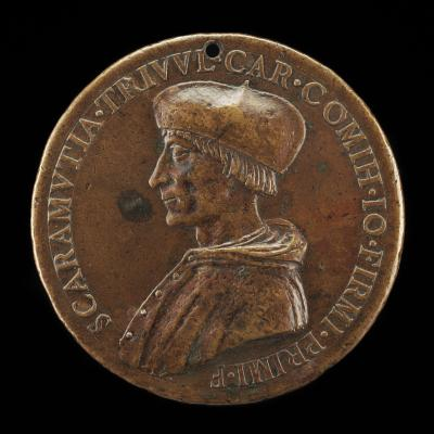 Image for Scaramuccia di Gianfermo Trivulzio, died 1527, Bishop of Como 1508, Cardinal 1517 [obverse]; Prudence Holding a Mirror and Compasses [reverse]
