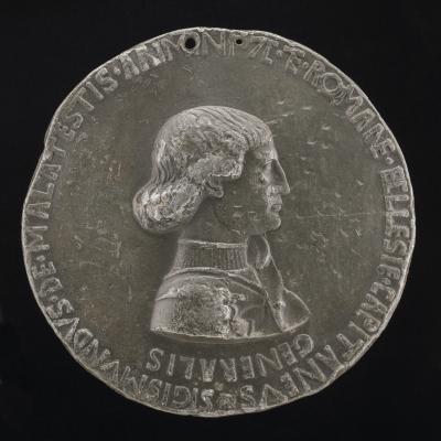 Image for Sigismondo Pandolfo Malatesta, 1417-1468, Lord of Rimini 1432 [obverse]; Sigismondo on a Charger before a Fortress [reverse]