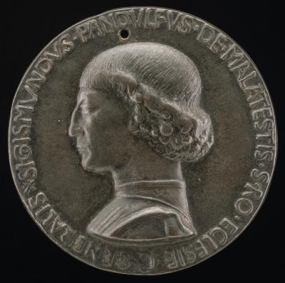 Image for Sigismondo Pandolfo Malatesta, 1417-1468, Lord of Rimini and Fano [obverse]; Fortitude Holding a Broken Column [reverse]