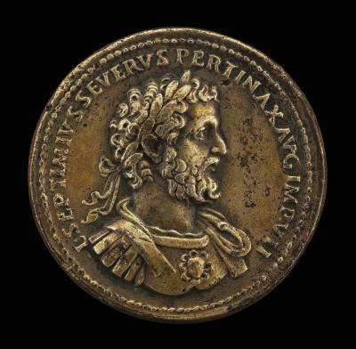 Image for Septimius Severus, Emperor, reigned A.D. 193-211 [obverse]; Mars Resting on a Spear and Shield [reverse]
