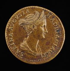 Image for Sabina, died A.D. 136 or 137, Wife of Hadrian [obverse]; Ceres Holding Ears of Corn and a Torch [reverse]