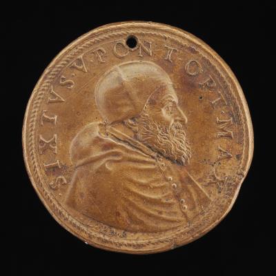 Image for Sixtus V (Felice Peretti, 1521-1590), Pope 1585 [obverse]; Securitas near Altar [reverse]