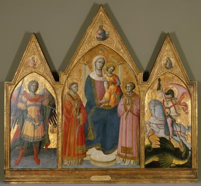 Image for Virgin and Child Enthroned with the Archangel Michael, and Saints Lawrence, Stephen, George