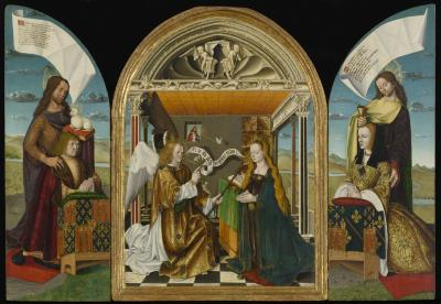Image for The Annunciation with Saints and Donors called The La Tour d'Auvergne Triptych