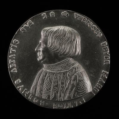 Image for Václav Payer (Wenceslaus Beyer), 1488-1537, State Physician of Bohemia [obverse]; Book, Skull, Bones, Rider in Landscape [reverse]