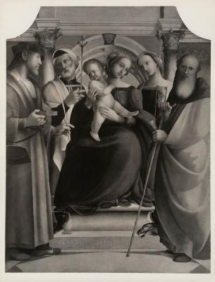 Image for Madonna Enthroned with Christ Child and Saints Panteleon, Joseph, Prisca (?), and Anthony Abbott