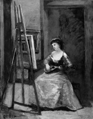 Image for Woman Playing a Mandolin before an Easel