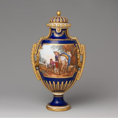 Image for Vase with cover (vase à panneaux or à perles) (one of a pair)