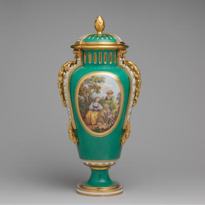 Image for Vase with cover (vase à bandes) (one of a pair)