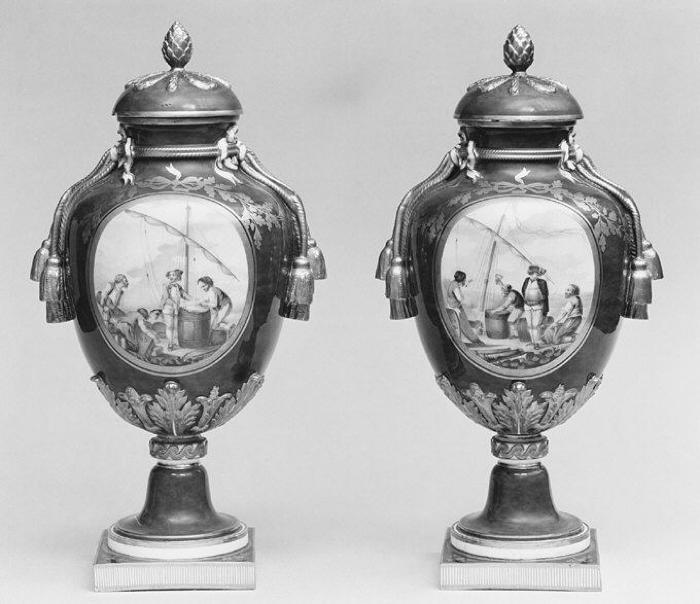 Image for Vase with cover (Vase à gland) (one of a pair)