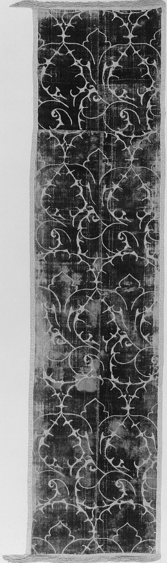 Image for Voided velvet panel, ferronerie type with violet pile and grey ground