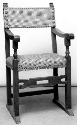 Image for Umbrian Armchair, carved top, shaped and pierced stretcher, covered with green and yellow velvet with geometrical design, fringes of the same epoch