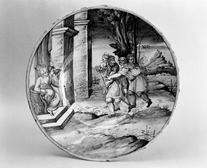 Image for Two Majolica Plates with Narrative Scenes