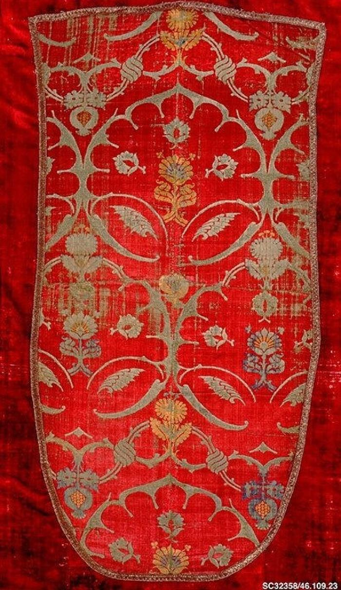 Image for Voided velvet piece with crimson ground and design in light green, yellow, and pale blue