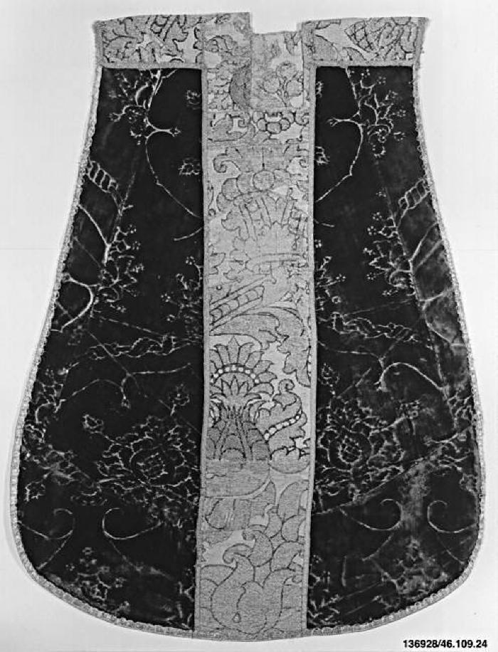 Image for Red voided velvet with orphrey of red velvet on cloth-of-gold ground, boucle details. Part of a chasuble