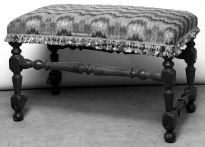 Image for Antique bench covered with silk embroidery