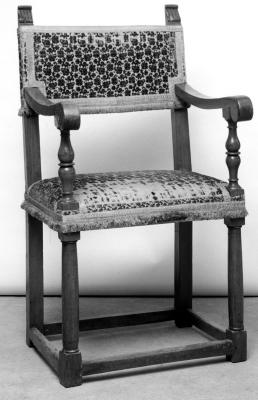 Image for Armchair in walnut, covered in 16th c. velvet with small raised design on ecru ground