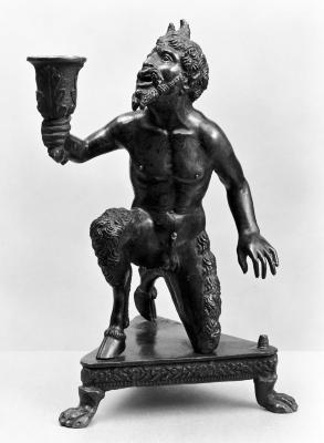 Image for Candlestick and Inkwell (or Sandbox) Depicting a Kneeling Satyr