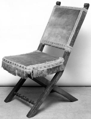 Image for Folding chair in walnut, covered with unique silk amber yellow velvet and rich fringe and gallons from the Villa Primola