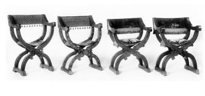 Image for Inlaid Dantesque Chair With Old Blue Velvet