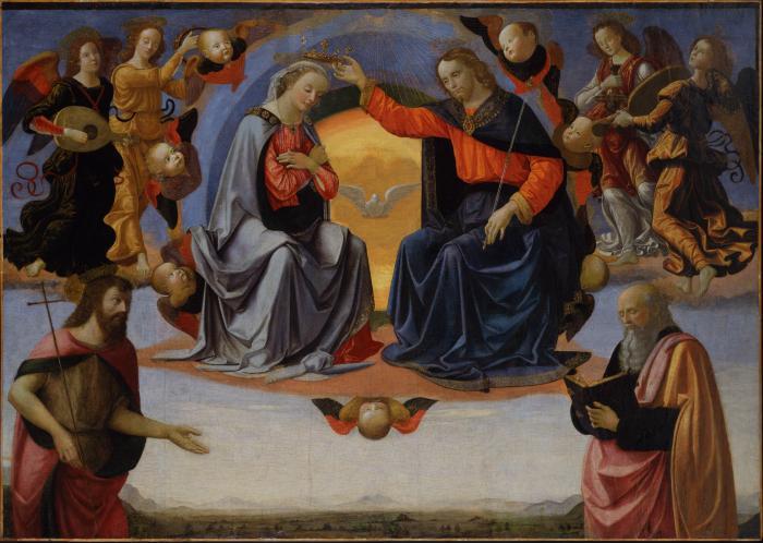 Image for The Coronation of the Virgin with Saint John the Baptist and Saint John the Evangelist