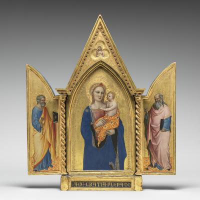 Image for Madonna and Child, with Saints Peter and John the Evangelist, and Man of Sorrows [entire triptych]
